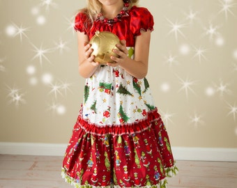 """SALE - """"The Grinch and Me"""" Ruffle Peasant Dress - Girls - Holiday - Festive - Christmas - Dr. Suess - Red & Green - Photos - Celebration"""