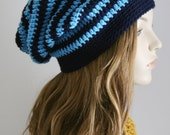 Slouchy Beanie Hat for Women or Men Slouch Hat Striped Crochet Hat Blues North Carolina Tar Heels Colors School Colors Christmas Gift