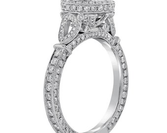 Round cut micropave set antique style diamond engagement ring with migrain R195P