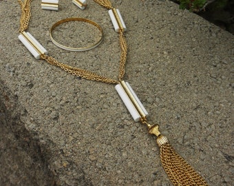 CLEARANCE Vintage 1970s Gold and White Brass Disco Necklace Bangle and Earring Set
