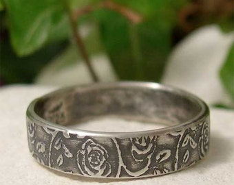 Sterling Silver Rose Ring Band, Dainty Flower Pattern Silver Ring, Simple Rustic Country Ring, Casual Boho Jewelry, Hand Made Nature Ring