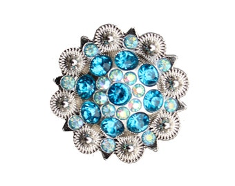Crystal Drawer Knob with Turquoise and light blue Crystals (MK160)