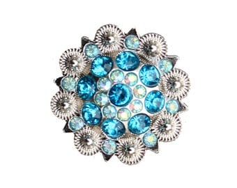 Crystal Drawer Knob with Turquoise and light blue Crystals (MK160-01)
