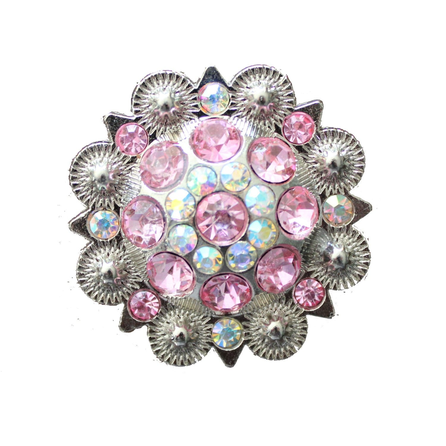 Crystal Drawer Knob With Pink And Light Pink Crystals Mk160