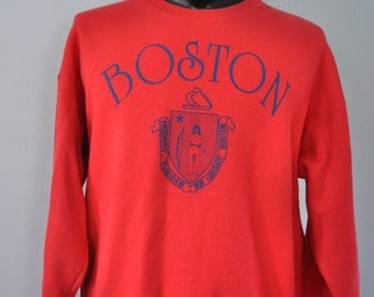 Vintage Boston Sweatshirt MA massachusetts tourist vacation warm comfy Bright Red LARGE