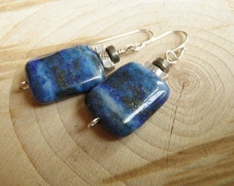 Lapis Lazuli, Pyrite, Thai Silver and Sterling Silver Earrings