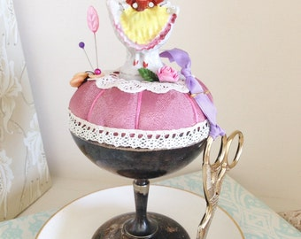Pincushion Silver Goblet with a Pretty Lady Figureine