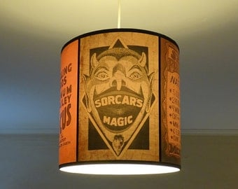 Circus Sideshow ceiling pendant lamp shade lampshade - accent lamp, boho decor, devil, carnival decor, pendant light,bohemian decor,lighting