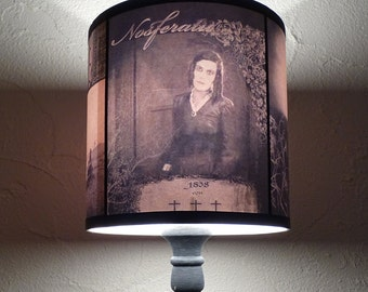 Nosferatu Lampshade lamp shade - halloween decor, goth decor, dark decor, dark art, horror movie, vampire decor, gothic , Spooky Shades