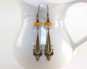 Amber Brass Earrings - Ox Plated Neo Classical Earrings - Boho Earrings - Tagua Earrings - Brass Earrings - Wire Earrings - Long Earrings