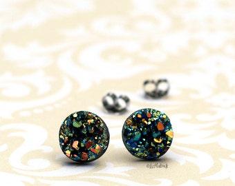 Faux Druzy Stud Earrings, Multi Color Glitter Druzie Posts, Rainbow 10 mm Faux Druzy Posts