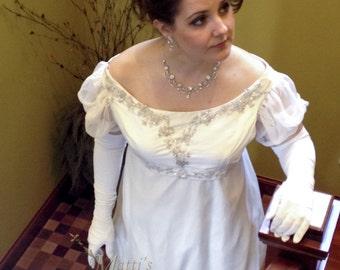Custom White Silk Elegant Princess Bridal Ball Regency Gown with crystal applique