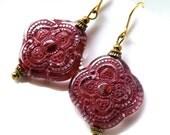 Vintage red lace earrings, retro earrings, lucite, textured red lucite earrings, detailed, elegant earrings
