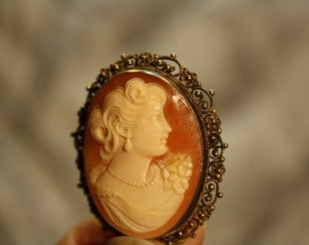 Antique 1910's Lady Cameo Portrait Gold Plated Sterling
