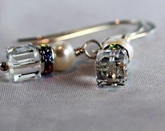 Pearl, Swarovski Crystal Cube & Multicolor Crystal Roundel Earrings