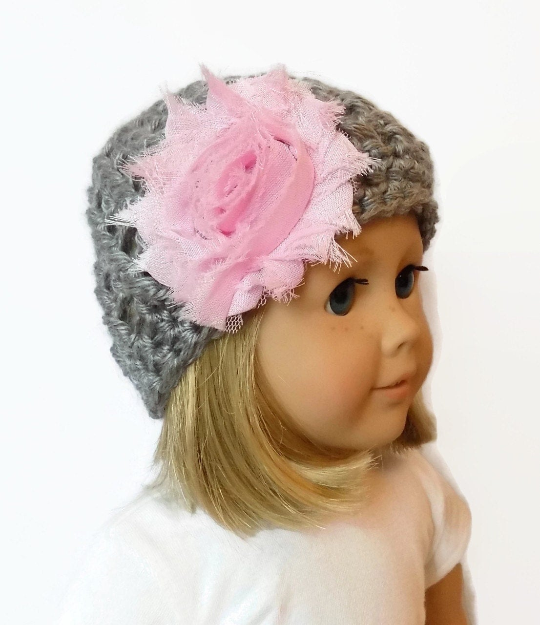 Knitting Pattern For Dolls Beanie : Doll Hat AG Doll Beanie Knit Doll Clothes Gray and Pink