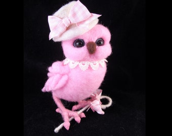 Pink Owl Needle felted Bird Animal Needle Felted Soft Sculpture by Bella McBride