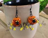 Funky Halloween Spider Earrings