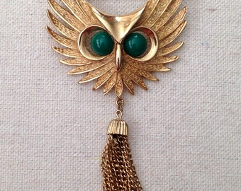 SALE Large Vintage Owl Pin with Tassel