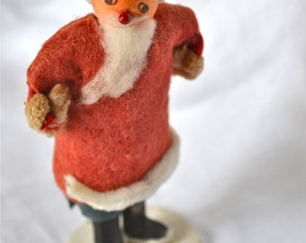 Vintage Christmas Ornament - Primitive Spun Cotton and Felt Santa Claus