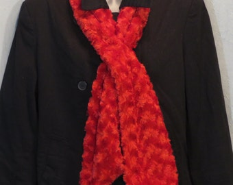 Faux Fur Scarf, SOFT and warm, neck warmer, Red, Christmas, Winter Fashion Curly Fur, Roses