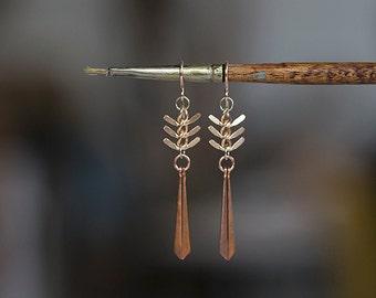 Dragonfly Earrings - Chevron Fish Bone Chain and Copper Drop Earrings - Modern Urban Tribal Dangle by Prairieoats