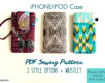 iPhone 6 Case Sewing Pattern, iPhone 6 Plus Wallet Case PDF Sewing Pattern, DIY iPhone 6 Pouch eBook Tutorial, iPod Cover Sewing Pattern