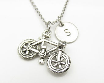 Bicycle Necklace, Bicycle Charm Necklace with Personalized Initial Letter, Monogram Necklace, Sports Bike Charm, Antique Silver Bicycle Y035