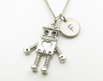 Robot Necklace with Initial, Silver Robot Charm, Geeky Robot Initial Necklace, Personalized Stamped Monogram Initial, Y004