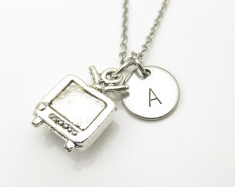 TV Necklace and Initial, Silver Tv Charm, Personalized Stamped Initial, Tv and Movies Fan Gift, Stainless Steel Monogram (Y071)