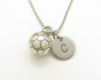 Soccer Necklace, Soccer Ball Charm, Initial Necklace, Personalized Stamped Monogram, Silver Soccer Ball, Sports Charm, Unisex Necklace Y184