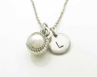 Baseball Necklace, Silver Baseball Softball Charm, Initial Necklace, Personalized Stamped Initial, Monogram Letter, Unisex Sports Charm Y186