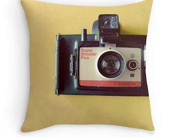 Throw Pillow Case : Vintage Land Camera Super Shooter Yellow Black Red Silver Home Decor Minimal Pop Art