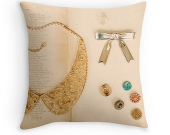 Throw Pillow Case : Vintage Collection Peter Pan Collar Necklace Antique Buttons Bow Jewelry Gold Lace Silver Brooch Pink