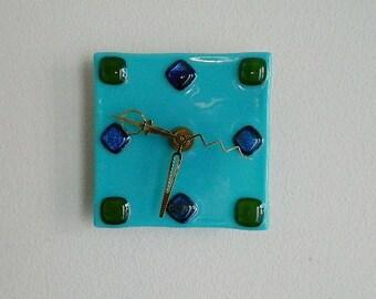Art Deco Style Design Fused Glass Wall or Desk Clock, Original Art Piece, CG10