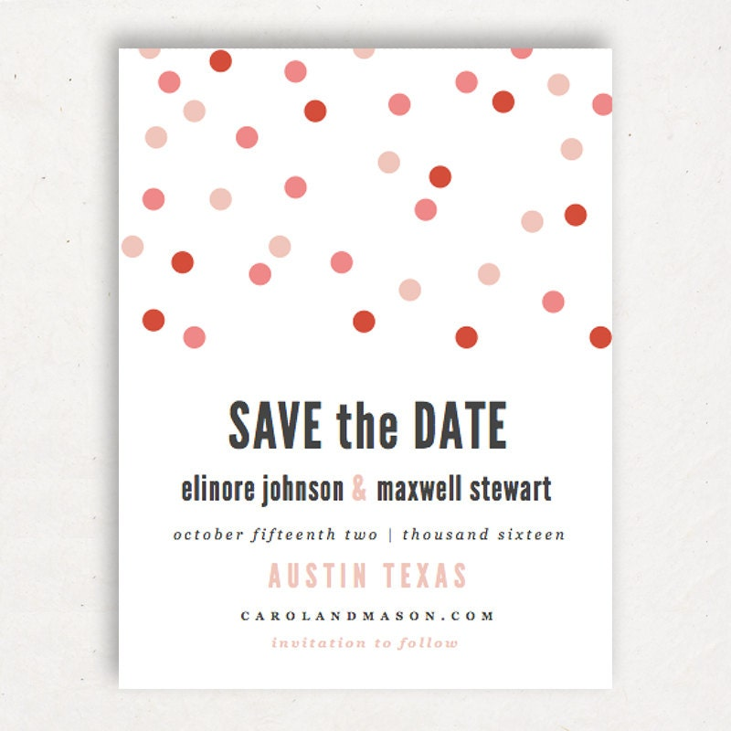Printable save the date template instant download confetti for Save the date templates free download