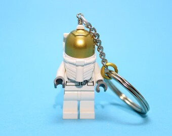 Astronaut Keychain - made from New LEGO® Minifigure, Classic Astronaut