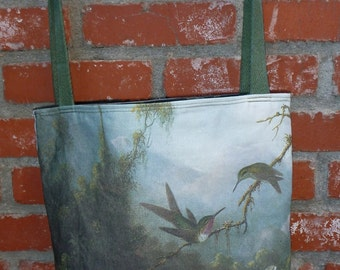 Two Hummingbirds Above a White Orchid Linencotton canvas tote/purse - zipper top Custom Print