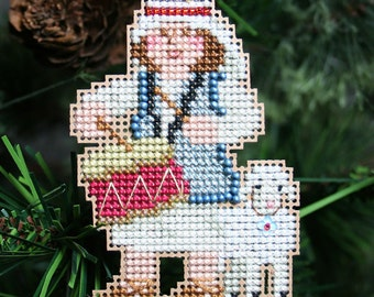 Drummer Boy Cross Stitched and Beaded Christmas Tree Ornament - Free U.S. Shipping