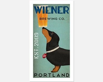 FREE Customization DACHSHUND Wiener Dog ginger beer Brewing Company graphic art giclee print SIGNED