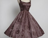 1950s vintage SOPHIE ORIGINAL evening dress * brown silk damask * 50s designer Sophie Gimbel 5S880