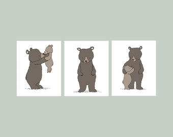Woodland Nursery Art -- Bear Woodland Art Prints -- Set of 3 Prints -- Woodland Nursery Decor --  Kids Wall Art