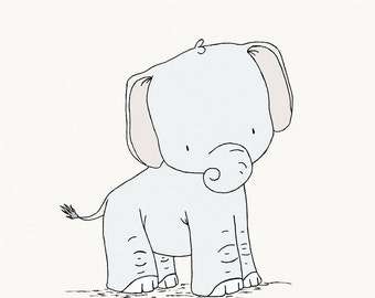 Elephant Nursery Art -- Little Elephant -- Safari Nursery Decor-- Children Art Print -- Kids Wall Art