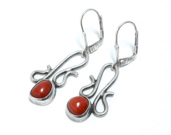 Native American Sterling & Coral Earrings
