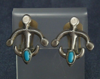 Sancrest Native Style Earrings Glass Turquoise Vintage
