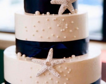 Beach Wedding Cake Decoration - Starfish with Swarovski Crystals - Set of 3 - starfish decoration, beach wedding cake