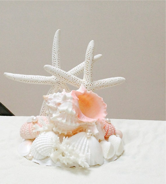 beach wedding cake topper with starfish by seashellcollection. Black Bedroom Furniture Sets. Home Design Ideas