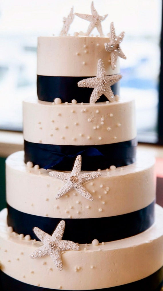 Beach Wedding Cake Decoration - 3 Starfish with Swarovski Crystals - beach wedding decoration, starfish decoration, beach wedding cake
