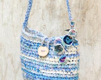 Blue lilac rag bag --- Bohemian fabric crocheted purse with flowers --- Fairy handbag