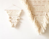 White greetings - wool, cotton, leather and copper weaving by Soledad Proaño